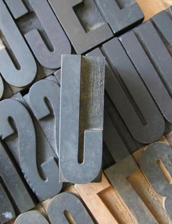 Antique Letterpress Wood Type Printers Block Letter J