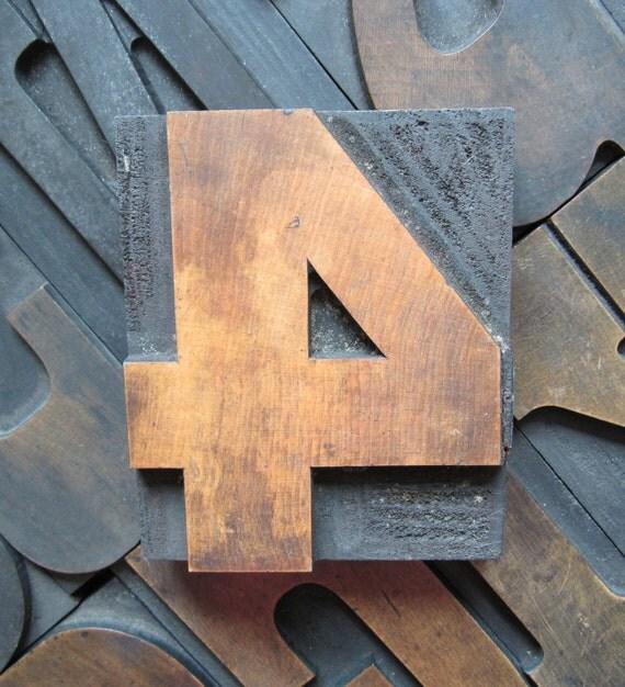 "4"" Antique Letterpress Wood Type Printers Block Number 4"