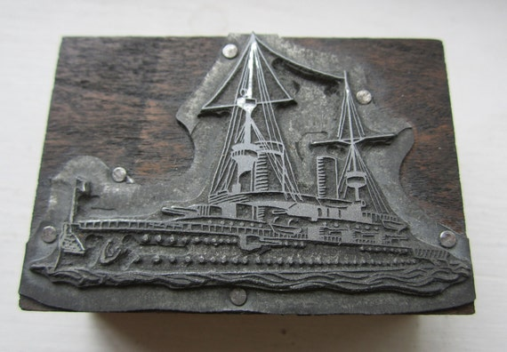 Vintage Letterpress Printers Block Military Ship