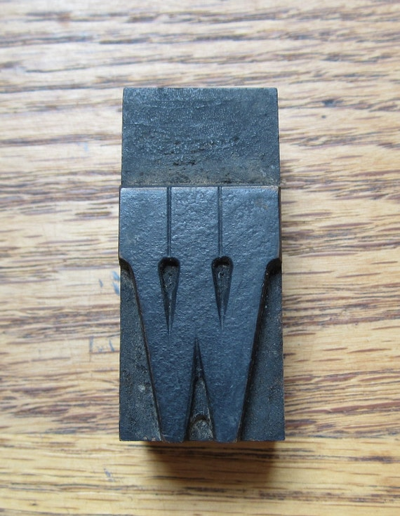 Antique Letterpress Wood Type Printers Block Letter W