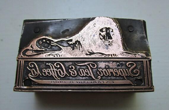 Vintage Letterpress Printers Block Superior Tea and Coffee Company Lion