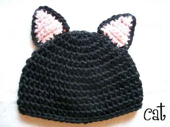 Crochet Kitty Hat Pattern : Boutique Crochet Kitty Cat Spring Hat PATTERN Meow by hmcquigg