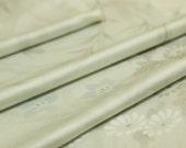 Light Grey Silk Floral Japanese Kimono Fabric Remnant, Komon, Destash