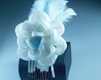 White Silk Flower, Feathers Kanzashi Silk Flower Hairpin, OOAK Burlesque, 1920s Flapper, Weddings, Women - CLEARANCE