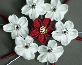 Red Ume Kanzashi Silk Flower Hairpin, Red Cross Charity