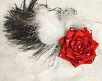 Red Rose, Feathers, Japanese Tsunami Kanzashi Silk Flower Fascinator Hair Clip, Burlesque Style, For Wedding, Prom