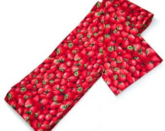 Kawaii Red Strawberries Hanhaba Obi Sash for Casual Japanese Kimono or Yukata, Cotton