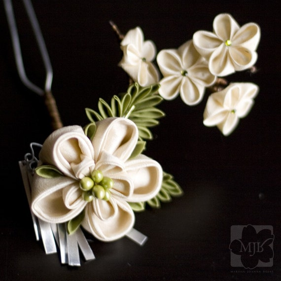 The Ivory Garden Tsunami Kanzashi Hair Accessory - OOAK - RESERVED