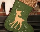 Woodland Deer Christmas Stocking