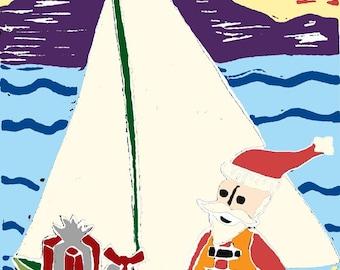 Sailing Santa Christmas Cards -- Box of Six