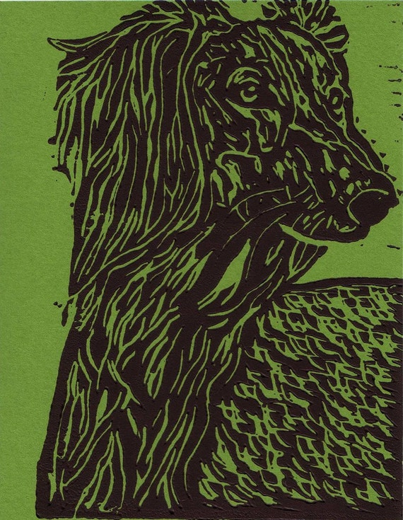 Saluki Portrait Note Cards in Green -- set of 6