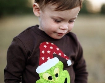 Boys Christmas applique long sleeve tshirt   READY TO SHIP in brown-toddler holiday outfit