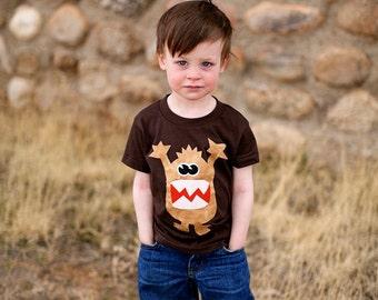 Boys Monster Applique Shirt- Brown short or long sleeve