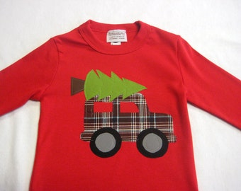 Boys Christmas Applique T-Shirt - Truck with Christmas Tree Applique