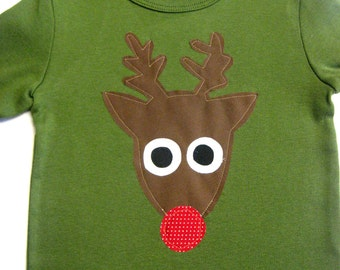 Boys Christmas Applique Shirt with Reindeer Applique on green