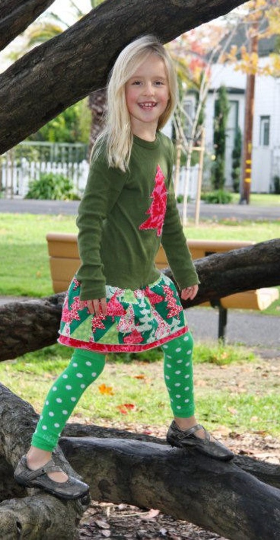 Girls Christmas Dress in Green Calico Trees-With Green polka dot Leg Warmers- Toddler Christmas Outfit
