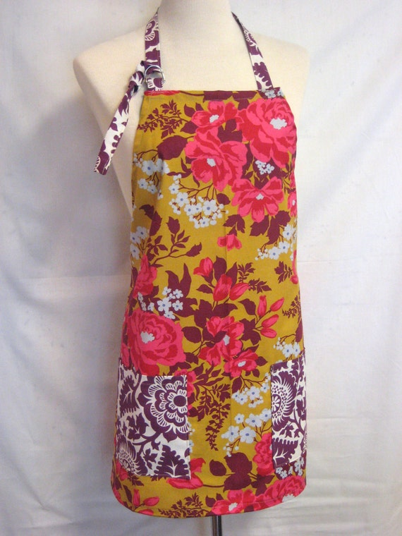 Full kitchen Apron-Women's Apron in mustard and plum modern floral
