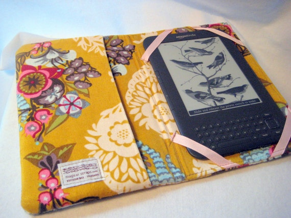 Kindle Cover- Hardcover e-reader case-Kindle Fire Case-Mustard Modern Floral-READY TO SHIP
