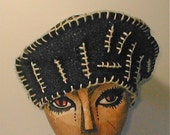 Aye Beret -  Hand Wove Wool Cloth Upcycled Hat - ReFittables - a genuine Hatz fer Catz hat - Cashmere Lined