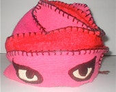 RESERVED for gigi-   ReFittables Hat - Cat Eyes - Hand Made Felted Hat - Cashmere Lined
