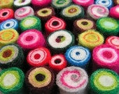 20 candy-coloured hand-felted beads