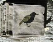 raven linen pouch