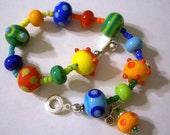 Bright Crayon Colors Lampwork Bracelet