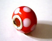 Silver Core Lampwork Bead -Red with White dots