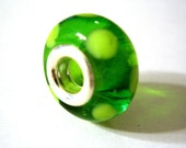 Silver Core Lampwork Bead for Troll or Pandora bracelet-Lime Green Dots