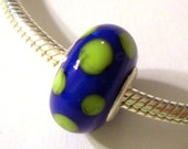Bright Blue with Green Dots Lampwork Silver Core Bead