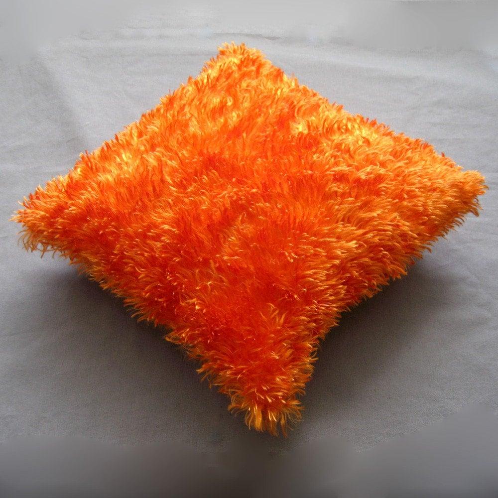 Silky Furry Bright Orange Dream Fuzzy Throw Pillow By