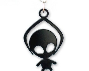Toy Grabber Alien necklace - black