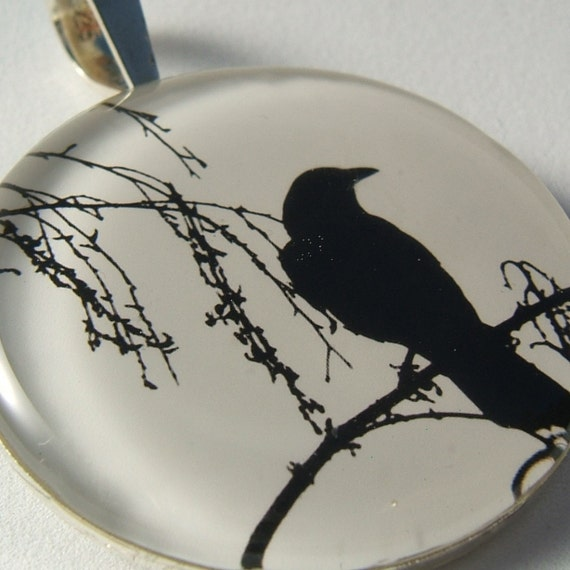 Photo Necklace, Lone Crow Circle Extra-Large