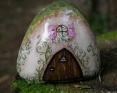 English Tudor Style Fairy Elf Cottage OOAK Painted Rock