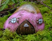 English Fairy Cottage Thatched Roof OOAK Painted Rock