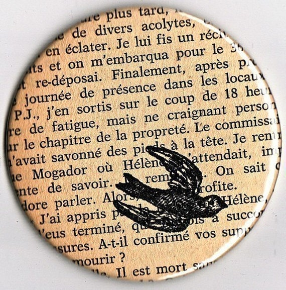French Text Revamped - Pocket Mirror / Book Page Mirror / French Mirror / Bookworm Gift / Stocking Stuffer / Book Lover Gift /