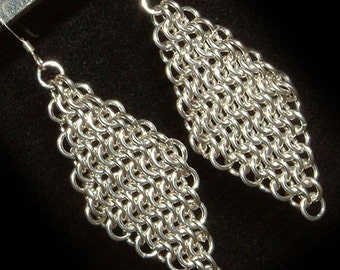 Sterling Silver Chainmail Chandelier Earrings