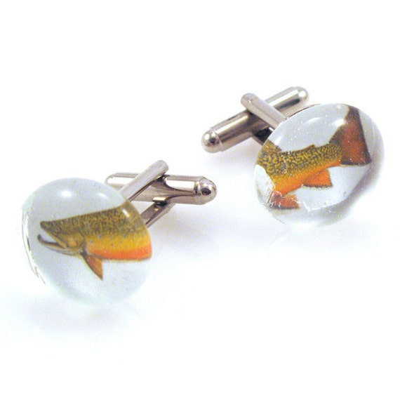 Sale brook trout cuff links fly fishing gifts gift by for Fly fishing gifts