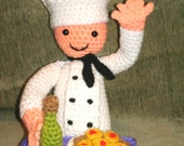 Chef Jeff Amigurumi Man PDF Crochet Pattern with Pineapple Cake and Wine Instant Digital Download