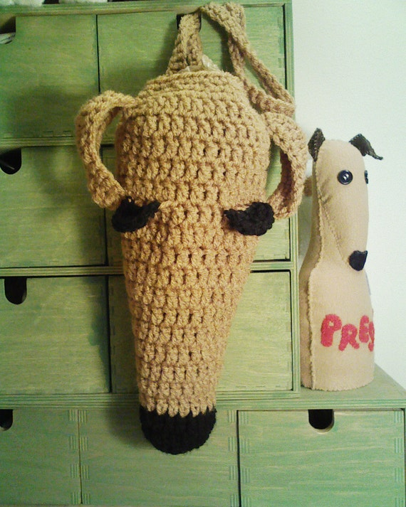 Red Greyhound Poop Bag or Kitchen Bag Holder by AerieDesigns