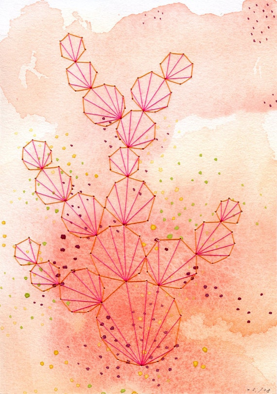 ORIGINAL Embroidered Gouache Painting Seaside Spring Abstract Modern Art - 5 x 7 - Pink Coral by selflesh