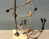 HANDMADE JEWELRY DISPLAY...Jewelry organizer...Twig ladder for earring display