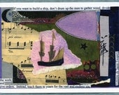 Surreal Postcards...Four Large Postcards of Original Collages.. card set of surreal imagery