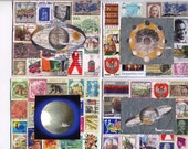 Four  Airmail Notecards,blank inside, postage stamps,stamps,note cards, greeting cards, art cards, postage, space images, air mail, cards