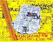Four Graffiti Greeting Cards by Noah Erenberg, outsider art, self-taught art, graffiti, graffiti cards, text art, greeting cards, cards