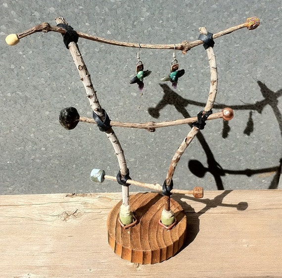 Twig ladder for earring display with round wooden base..a functional sculpture for earrings..reclaimed wood