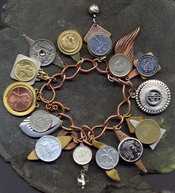 HANDMADE- CHARM- BRACELET of coins...many foreign...Coinage