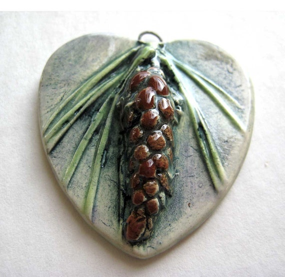 SALE Pine Cone Pendant in  Green