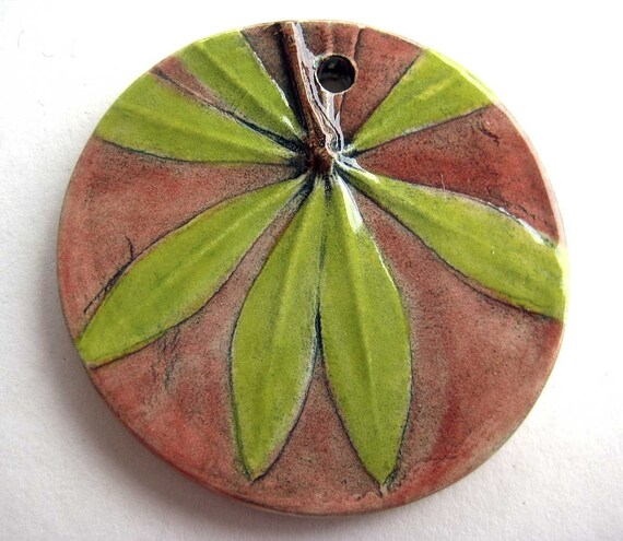 Handmade Ceramic Pendant Sweet Woodruff Flower