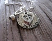 Fertility Necklace with Baby Footprints and Freshwater Pearl